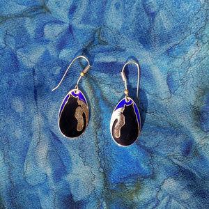 Black Cat Goldtone Dangle Earrings by Discovery